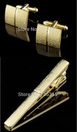 Зажим для галстуков и запонки под золото, модель 3